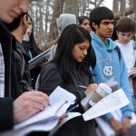 GEOG 56 students search for a historic UNC landmark